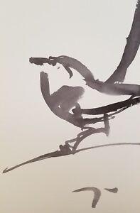 JOSE TRUJILLO - MODERN ABSTRACT EXPRESSIONIST INK WASH BIRD ORIGINALS DESIGN