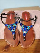 "WOMENS: SZ 10M, UNIONBAY ""CAPRICE"" BLUE Beaded Buckle Sandal Thong Slide Flats"
