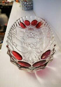 Glass Long Serving Bowl With Red Colour Dots