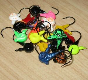 1/8 oz. Painted Lead Jig Spinner Clip Lot of 20 Jigs Barnacle & High Gloss Mix