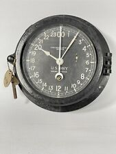 ✅ Antique Us Navy Chelsea Wwii Era Ship's Clock & Key w. Pearl Harbor Tool Tag
