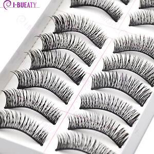 10 Pairs Natural Makeup False Eyelashes Handmade Black Long Thick Eye Lashes 030