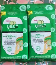 2 Packs of Yes To Cucumbers Soothing Calming Mask Removing Wipes 5 Wipes Each