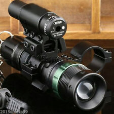 Tactical Cree LED Zoomable Flashlight + Red Laser Sight + Scope Barrel Mount *