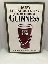 Guinness Nitro Ipa Happy St. Patrick's Day Metal Beer Sign 20x14� - Used