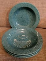 "Signature Stoneware Japan Speckled ""Granite"" Turquoise - 4 Rimmed Soup Bowls"