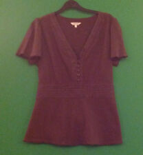 ~PAPAYA~MATALAN~BROWN~SHORT SLEEVE~V NECK TOP~SIZE 18~