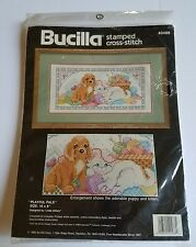 Bucilla Stamped Cross Stitch Kit Playful Pals Puppy Kitten 16x8 New Sealed 1990