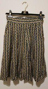 Louche skirt  jersey viscose navy yellow geometric print A-line pockets AsNew