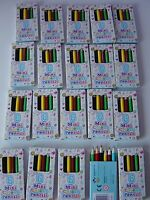 Mini Pencil crayons, Pack of 6 colours, Party bag filler,Boys or Girls colouring
