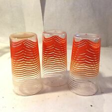3 Vtg Mcm Orange Striped Tom Collins Glasses Cocktail Set Retro Lemonade Tea
