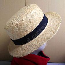 FASHION Straw Raffia Boater Hat Men Women SUMMER Soft Panama Unisex Beach | 58cm