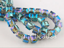 40pcs Green Colorized Hot 6mm Cube Square Loose Crystal Glass Beads DIY Findings