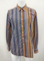 ROBERT GRAHAM Blue Orange Striped Diamond Flip Cuff Casual Shirt XL/TG