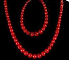 "Beautiful 6-14mm Red Coral Round Beads Necklace 18"" + Bracelet 7.5"" Jewelry Set"