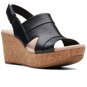 Clarks Ladies Annadel Ivory Sling Back Black Leather Sandals UK Size 6.5 D EU 40