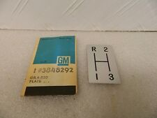 NOS GM Console Shift Pattern Plate 3sp Transmission 1964-67 Corvette