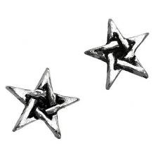 Official Alchemy Gothic Pentagram Pewter Silver Stud Earrings - Black Star New