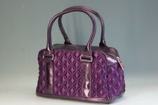 Authentic MARC JACOBS Satin Quilting Bag Bowler Bag Purple Free Ship 130f33