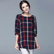 Hips Scoop Neck Checked Blouses for Women