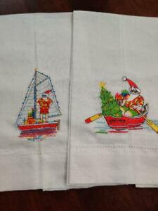 Peking Handicraft Set Of 2 Embroidered Tropical Santa Express Tea Or Guest Towel
