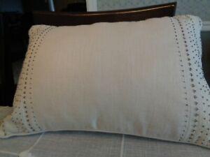 """13""""x20""""  Lumbar Beaded Cream Linen Throw Pillow PIER 1 IMPORTS EUC!!"""