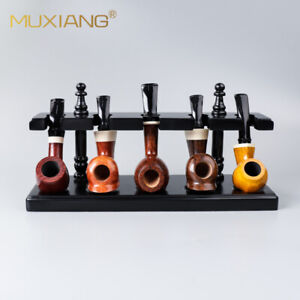 Wooden Tobacco Pipe Stand Rack Holder for 5 Smoking Pipes Display Straight Rack