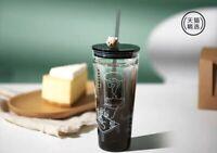 New Starbucks 2020 China Bear Straw Black Double Wall Glass 20oz Cup Tumbler