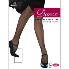 Children Girls Fishnet Dance Tights Footed Fishnet Tight  Black-Natural 3-13 Yrs