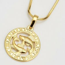 "Pisces Horoscope Pendant Necklace 18k Yellow Gold Filled 18"" Chain Jewelry"