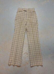 Vintage 70s Izod Pants Beige Plaid Pleated Knit 28 x 34