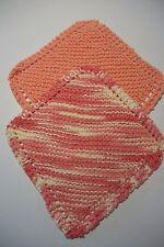 "2 hand knit 100% cotton dishcloths approx 8"" square peach/ peach,ivory vari"