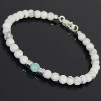Amazonite White Howlite Sterling Silver Bracelet Mens Women Clasp DIY-KAREN 564