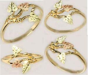 Handcrafted South Dakota Black Hills 12kt Gold Red Green Leaf Ring Roman Spain