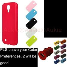 ONE Samsung Galaxy S4 Solid Colored Case + Sreen Protector +USB Car Charger