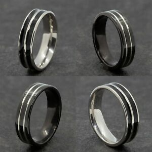 6mm Stainless Steel Silver Black Mens Womens Wedding Band -  Ring Sizes N to Y