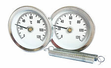 PIPE THERMOMETER (Pair x 2) CLIP ON SPRING E 63mm 0/120C EXTERNALLY ADJUSTABLE