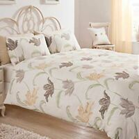 FLORAL BEIGE BROWN CREAM COTTON BLEND SINGLE DUVET COVER