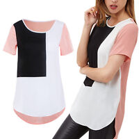 EG_ Women Fashion Splicing Loose Short Sleeve Top Blouse T-Shirt Plus Size Cheap