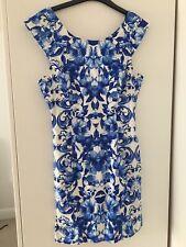 Forever 21 Blue & White Porcelain Flower Print Dress Size M Uk 10/12