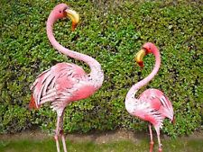New Handmade XL Metal BRIGHT PINK FLAMINGO Statue ornament HOME GARDEN or POND