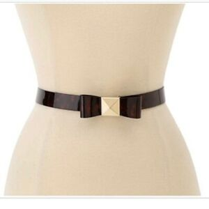 Kate Spade New York Women's Leather Tortoise Pyramid Bow Belt Sz. M Medium NWT