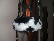 Bitless bridle nose band blk/wte cow print faux fur