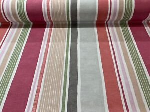 Marcel Stripe Rose Pomerganatet Cotton 140cm wide  Curtain Fabric