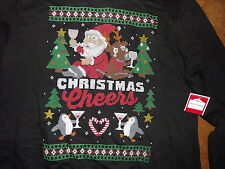 NWT Womens xl 16-18 Holiday Time Christmas Cheers Santa penguin party fleece top