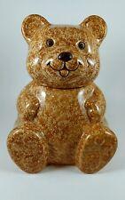 "Avon Ceramic Tan Teddy Bear Cookie Jar ~ 10"" Tall"