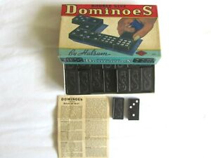 Vintage 1940's Halsam Double Nine Dominoes Original Box Complete