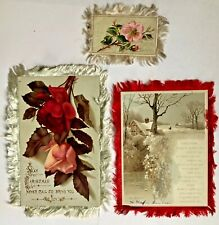 3 Antique Vintage Victorian Pretty Double & Single Sided Fringed Christmas Cards