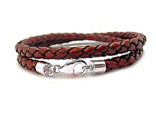 Mens Leather Bracelet-5mm Braided-Double-925 Sterling Silver Clasp-Red Brown