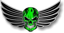 Con Alas ciclista cráneo Wings & Verde eléctrico efecto llamas Auto Moto Pegatina Calcomanía